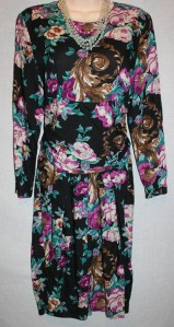 Vintage Betsey's Things dress black floral