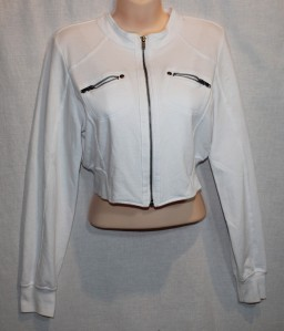 J. Crew white crop Moto jacket