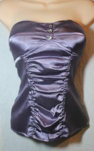 Candie's purple satin bustier corset