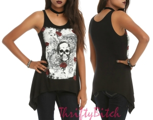 Black Skull Rose Tank Top
